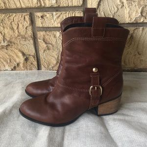 Clarks Artisan Western Leather Boots Buckle 8 1/2
